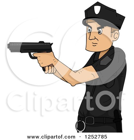 Clipart of a Caucasian Police Man Aiming a Gun - Royalty Free Vector Illustration by BNP Design Studio