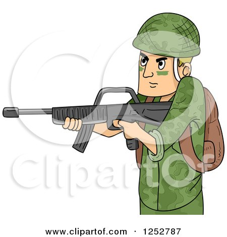 Clipart of a Caucasian Soldier Man Aiming a Machine Gun - Royalty Free Vector Illustration by BNP Design Studio