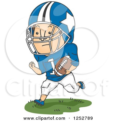 Clipart of a White Male Football Player Running with the Ball - Royalty Free Vector Illustration by BNP Design Studio