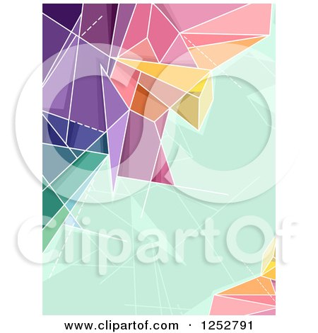 Clipart of a Colorful Abstract Geometric Border with Green Text Space - Royalty Free Vector Illustration by BNP Design Studio