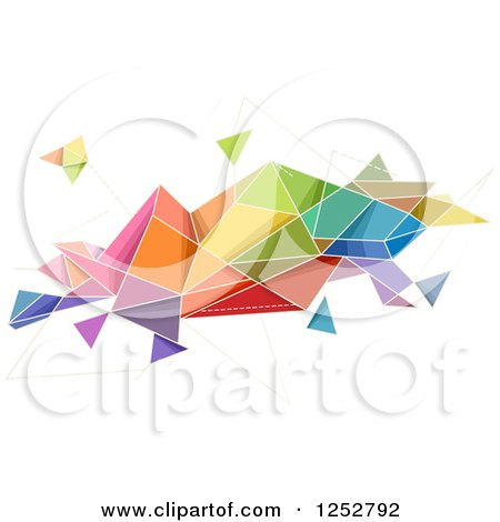 Clipart of a Colorful Abstract Geometric Shape on White - Royalty Free Vector Illustration by BNP Design Studio