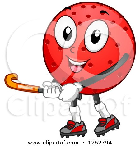 Clipart of a Field Hockey Ball Mascot Holding a Stick - Royalty Free Vector Illustration by BNP Design Studio