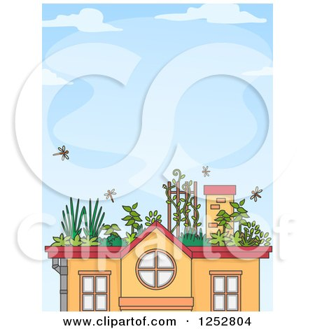Clipart Of A House With A Roof Top Garden Over Blue Sky