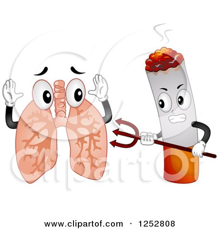 Clipart of a Devil Cigarette Attacking Lungs - Royalty Free Vector Illustration by BNP Design Studio
