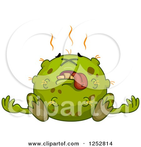 Clipart of a Dead Green Germ - Royalty Free Vector Illustration by BNP Design Studio
