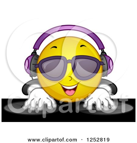 Clipart of a Dj Emoticon Mixing Records - Royalty Free Vector Illustration by BNP Design Studio