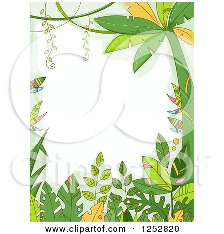 Clipart of a Jungle Border of Forest Plants - Royalty Free Vector Illustration by BNP Design Studio