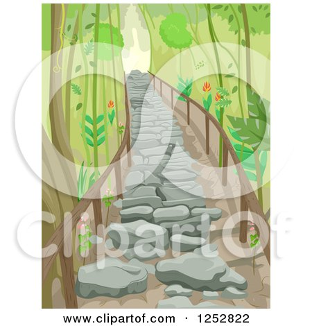 Clipart of a Stone Stair Path Through a Forest - Royalty Free Vector Illustration by BNP Design Studio