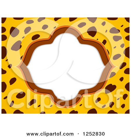 Clipart of a Frame on a Cheetah Print Background - Royalty Free Vector Illustration by BNP Design Studio