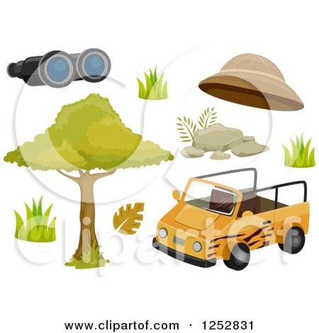 Clipart of a Safari Jeep and Accessories - Royalty Free Vector Illustration by BNP Design Studio