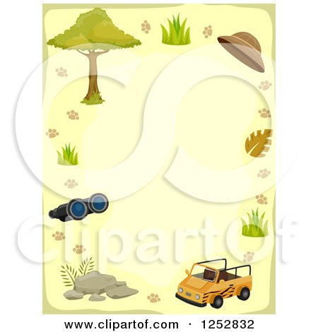 Clipart of a Border of a Safari Jeep and Accessories - Royalty Free Vector Illustration by BNP Design Studio