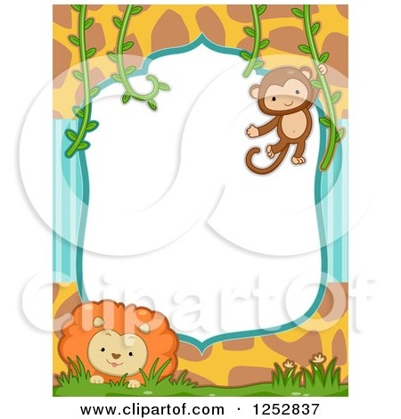Clipart of a Jungle Border with Stripes, Giraffe Print, a Monkey and Lion - Royalty Free Vector Illustration by BNP Design Studio