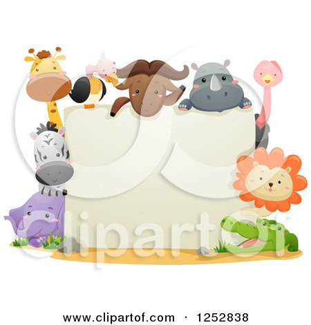 Clipart of a Blank Sign with Cute Safari Animals - Royalty Free Vector Illustration by BNP Design Studio