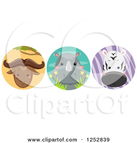 Clipart of a Cute Wildebeest, Rhino and Zebra in Circles - Royalty Free Vector Illustration by BNP Design Studio