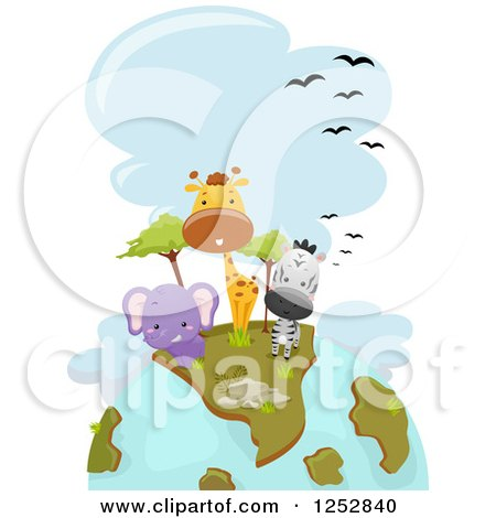 Clipart of a Safari Earth with Cute Animals - Royalty Free Vector Illustration by BNP Design Studio