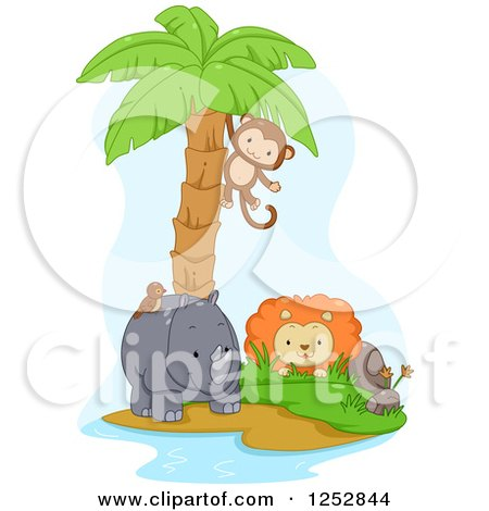 Clipart of a Monkey Swinging from a Palm Tree over a Lion and Rhino - Royalty Free Vector Illustration by BNP Design Studio