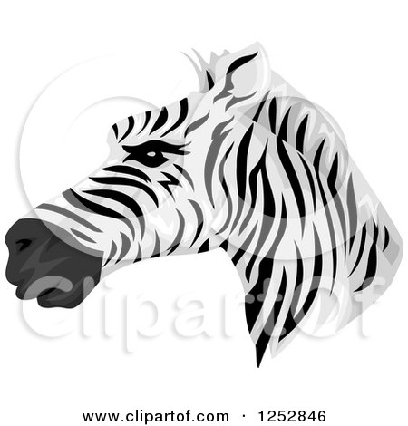 Clipart of a Handsome Zebra Head in Profile - Royalty Free Vector Illustration by BNP Design Studio