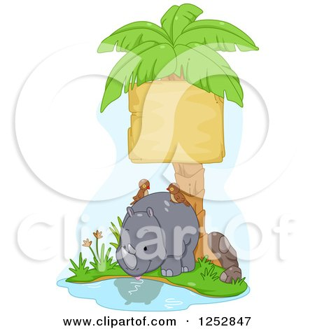 Clipart of a Cute Rhino with Birds Under a Palm Tree Sign - Royalty Free Vector Illustration by BNP Design Studio