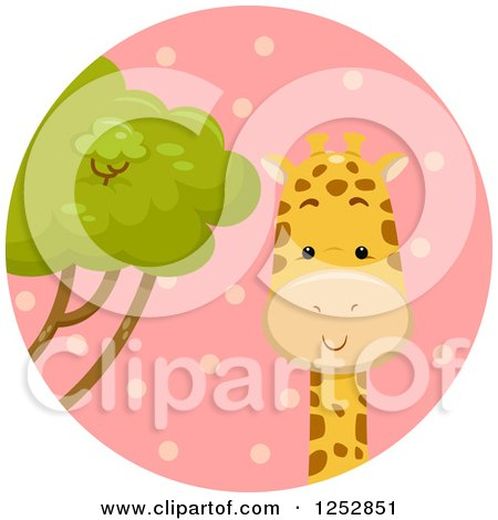 Clipart of a Cute Giraffe in a Pink Circle - Royalty Free Vector Illustration by BNP Design Studio