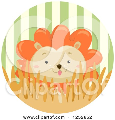 Clipart of a Cute Male Lion in a Stripe Circle - Royalty Free Vector Illustration by BNP Design Studio
