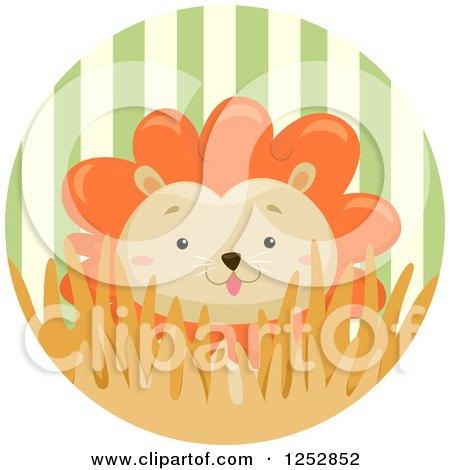 Cute Male Lion in a Stripe Circle Posters, Art Prints
