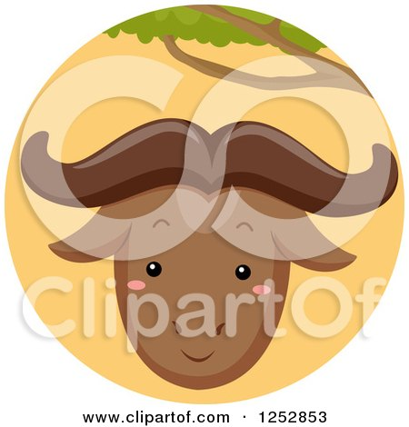 Clipart of a Cute Wildebeest in an Orange Circle - Royalty Free Vector Illustration by BNP Design Studio