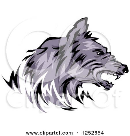 Clipart of a Growling Wolf Head in Profile - Royalty Free Vector Illustration by BNP Design Studio