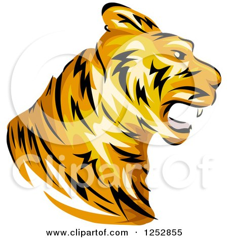 Clipart of a Roaring Tiger Head in Profile - Royalty Free Vector Illustration by BNP Design Studio