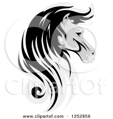 Clipart of a Grayscale Horse Head in Profile - Royalty Free Vector Illustration by BNP Design Studio