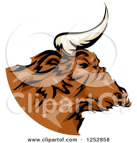 Clipart of a Brown Bull in Profile - Royalty Free Vector Illustration by BNP Design Studio