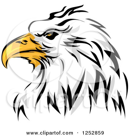 Clipart of a Bald Eagle Head in Profile - Royalty Free Vector Illustration by BNP Design Studio