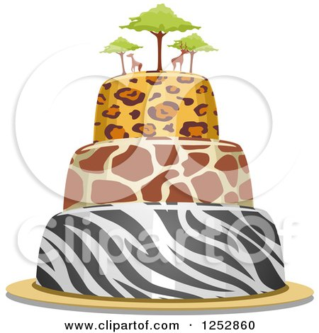 Clipart of an Animal Print Safari Cake with Giraffes on Top - Royalty Free Vector Illustration by BNP Design Studio