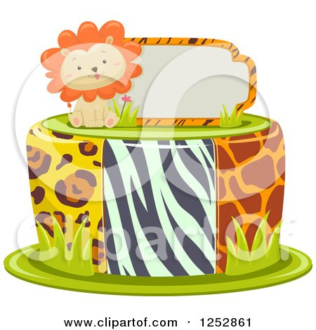 Clipart of a Cute Lion and Sign on Top of a Jungle Print Cake - Royalty Free Vector Illustration by BNP Design Studio