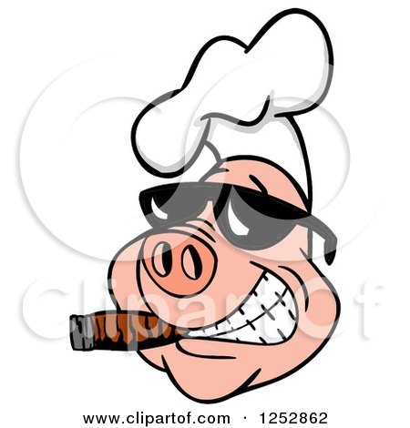 Clipart of a Grinning Pig Smoking a Cigar and Wearing a Chef Hat and Sunglasses - Royalty Free Vector Illustration by LaffToon