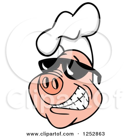 Clipart of a Grinning Pig Wearing a Chefs Hat and Shades - Royalty Free Vector Illustration by LaffToon