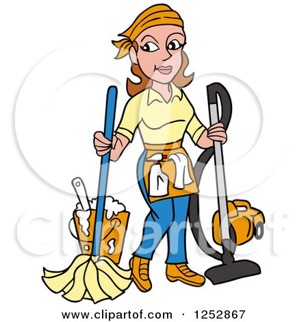 Clipart Illustration Of A Pleasant Caucasian Housewife
