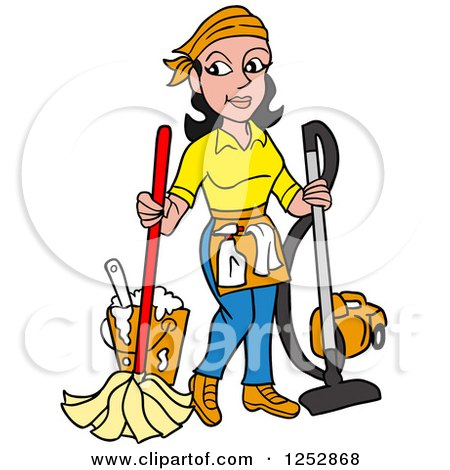 Clipart of a Black Haired Caucasian Housekeeper Woman Mopping and Vacuuming - Royalty Free Vector Illustration by LaffToon