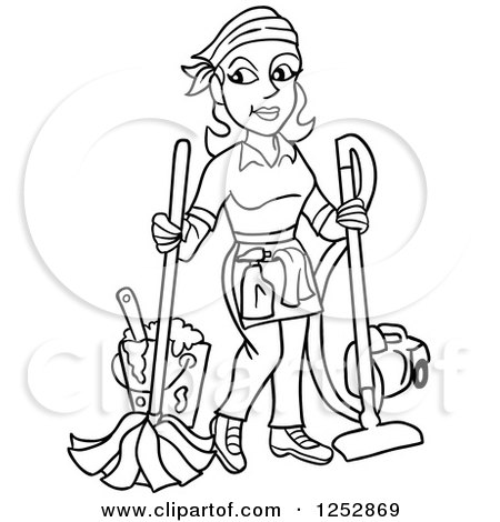 Clipart of a Black and White Housekeeper Woman Mopping and Vacuuming - Royalty Free Vector Illustration by LaffToon