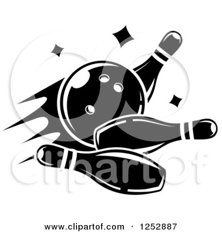 Clipart of a Black and White Bowling Ball Smashing into Pins - Royalty Free Vector Illustration by Vector Tradition SM