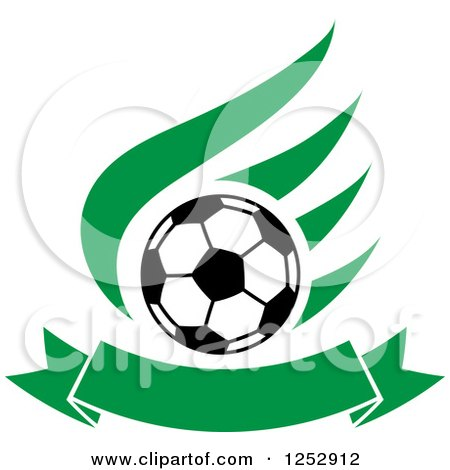 Clipart of a Soccer Ball over a Green Wing and Banner - Royalty Free Vector Illustration by Vector Tradition SM