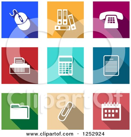 Clipart of Colorful Square Office Item Icons - Royalty Free Vector Illustration by Vector Tradition SM