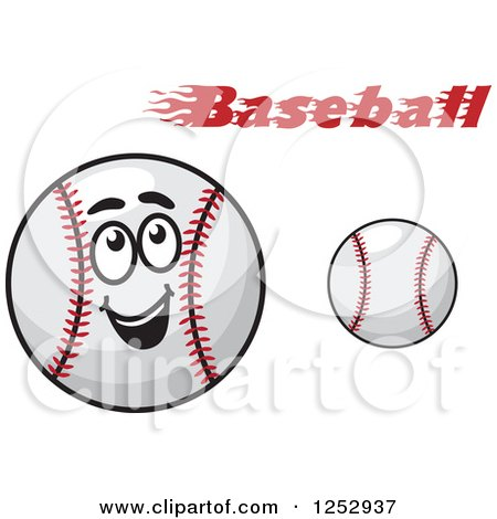 Clipart of a Happy Baseball Character and Text - Royalty Free Vector Illustration by Vector Tradition SM