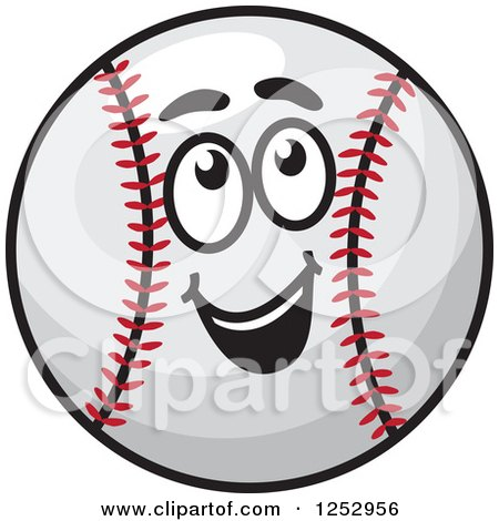 Clipart of a Happy Baseball Character Looking up - Royalty Free Vector Illustration by Vector Tradition SM
