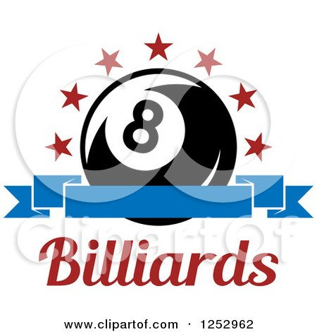 Clipart of a Arch of Stars and Banner over an Eight Ball with Billiards Text - Royalty Free Vector Illustration by Vector Tradition SM