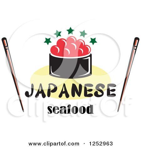 Clipart of Caviar with Japanese Seafood Text and Chopsticks - Royalty Free Vector Illustration by Vector Tradition SM