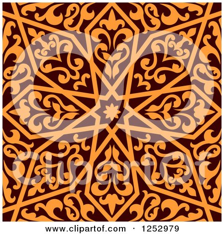 Clipart of a Seamless Brown and Orange Arabic or Islamic Design 7 - Royalty Free Vector Illustration by Vector Tradition SM