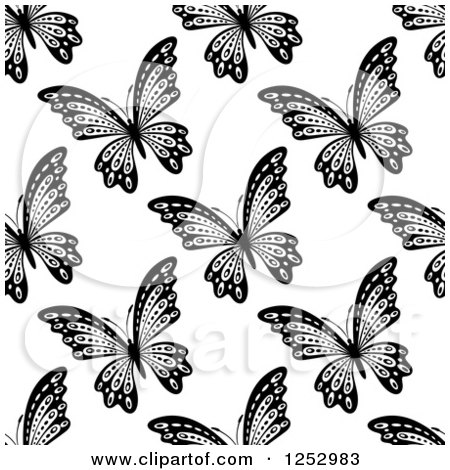 Clipart of a Seamless Black and White Butterfly Background Pattern 7 - Royalty Free Vector Illustration by Vector Tradition SM