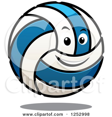 Clipart of a Blue and White Volleyball Character - Royalty Free Vector Illustration by Vector Tradition SM