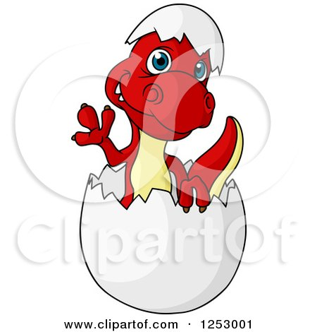 Clipart of a Cute Red and Yellow Baby Dinosaur Waving and Hatching - Royalty Free Vector Illustration by Vector Tradition SM