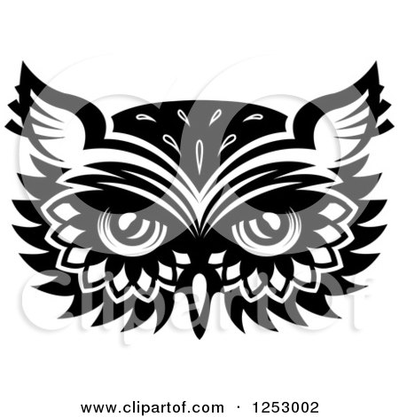 Clipart of a Black and White Owl